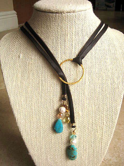 Statement Adjustable Boho Brown Deerskin Lariat Necklace Baroque Fresh Water Pearls, Turquoise, Crystals, 14K Gold Vermeil   by LeatherDiva, $44.00