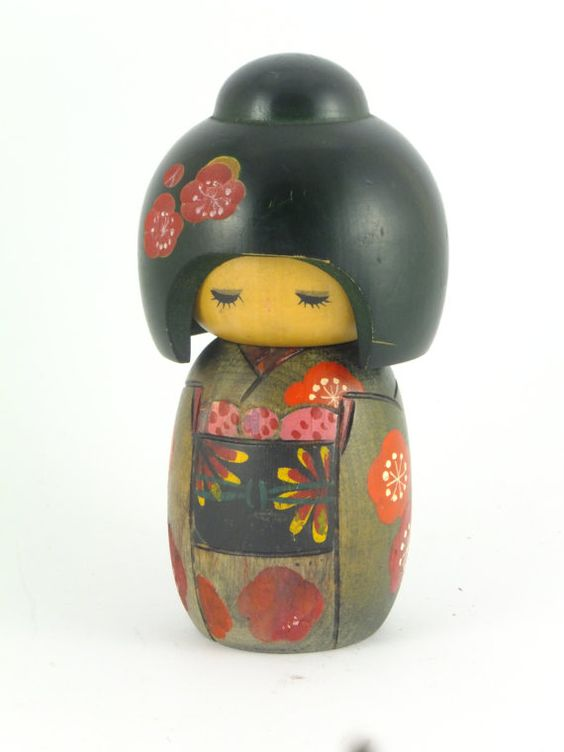 Vintage Japanese Kokeshi wooden doll, black, green, red and pink, cherry blossoms,kimono,geisha Ask a Question $26.00