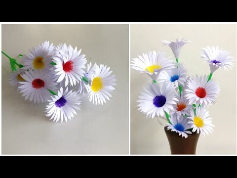 Beautiful Flowers Making With Paper Diy Paper Flowers Making Home Decor Paper Craft Youtube In 2020 Paper Flowers Diy Paper Flowers Flower Making
