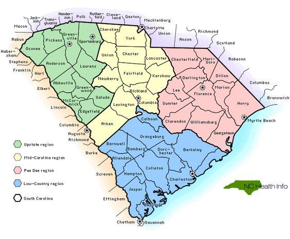 Sc Counties Select South Carolina County By Name SC History - South carolina cities map