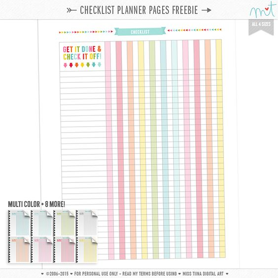 Free checklist planner pages in all 4 sizes and multiple colours ...
