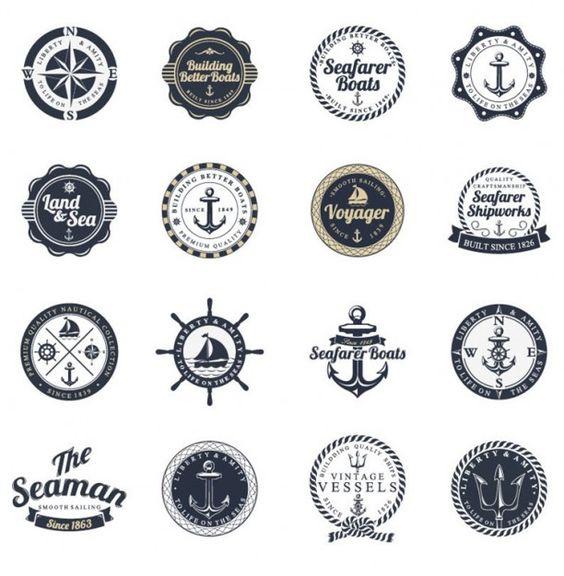 l'océan et la mer des étiquettes ensemble de vecteurs de timbre