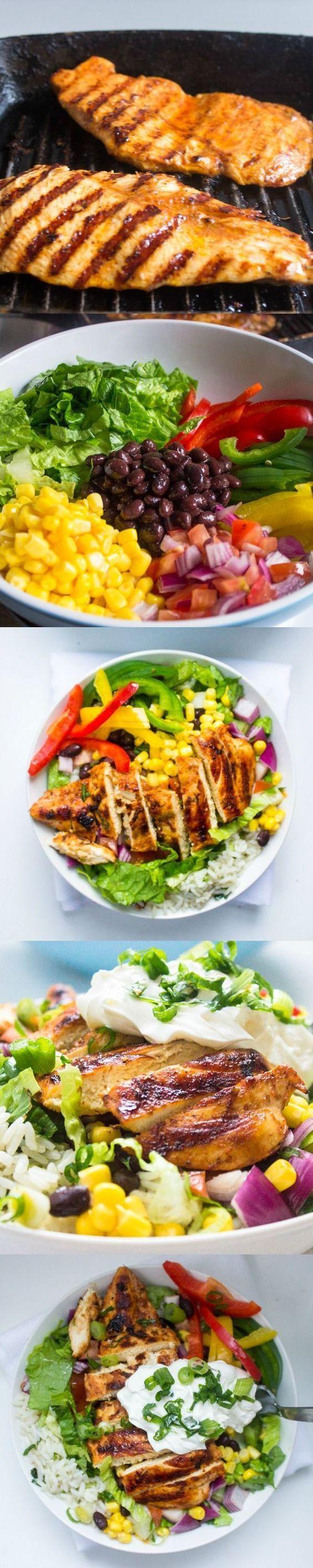 Chipotles Chicken Burrito Bowl with Cilantro Lime Rice #chicken #burrito #paleo