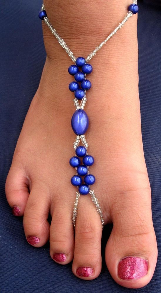 Pair of Hand Made Bare Foot Sandal Bridal  Beach Jewellery Anklet (BFS 7A0319)
