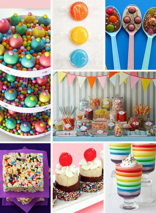 From Draw Pilgrim's blog.  Love the candy-colored cake balls displayed on beds of candy, and those candy and chocolate spoons.  Wrap 'em in cellophane and hand them out as party favors?