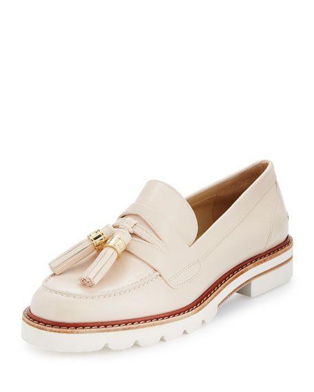 Stuart Weitzman Manila Leather Tassel Loafer, Bone $445.00