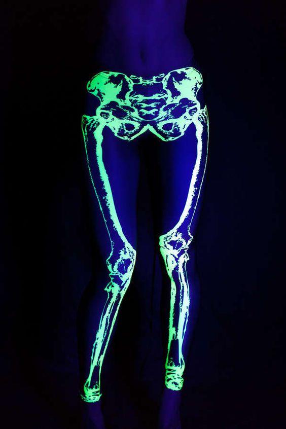 Glowing Skeletal Leggings (UPDATE) - Neon Leg Bones ....is it weird I want these for disney??