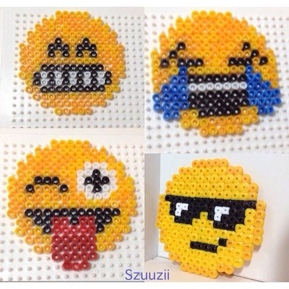 Abalorios hama emoticon and cuentas on pinterest - Perle a repasser smiley ...