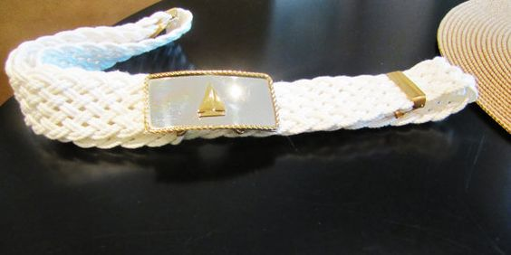 vintage nautical white belt with sailboat buckle by VintageTins, $24.00