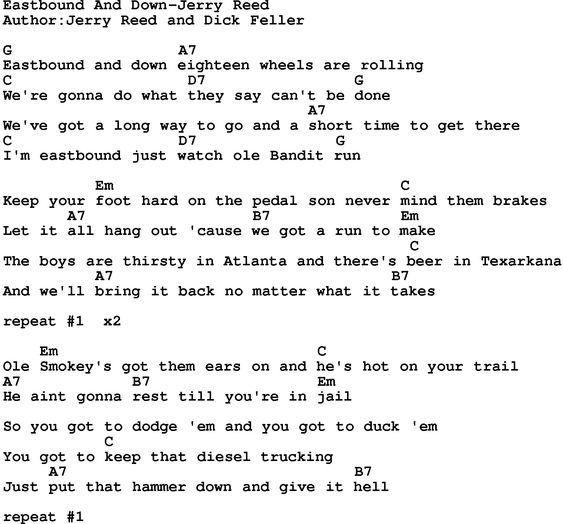 Country music song: Eastbound And Down-Jerry Reed lyrics ...