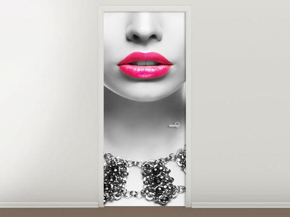 Tür #Tapete Rote Lippen