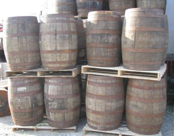 """oak, aged whisky barrels stand 34"""" high, 25"""" wide at widest point, and 22"""" wide at narrowest point. $140 each to purchase. can deliver for an extra charge. will rent out for events and rental cost depends on time and quantity. email me for rental prices."""