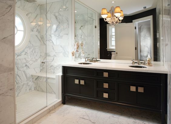 Toronto, ON -#Custom #vanity #design #charcoal #gray #polishedchrome #hardware #statuario #countertop  Designed by Lisa Sontacchi Cabinetry by Stutt Kitchens