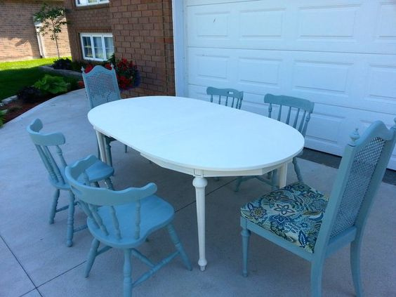 Diy Shabby Chic Mismatched Dinning Set #Anniesloan #Chalkpaint #DIY
