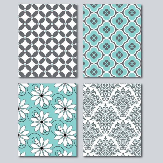 Teal And Grey Home Decor Wall Art Digital By Hollypopdesigns Home Decor Pinterest
