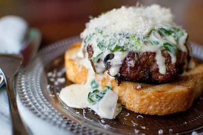 Steakhouse Mushroom Burger with Spinach Cream Sauce