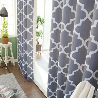 Moroccan Tile Room Darkening Grommet Top 84 inch Curtain Panel ...