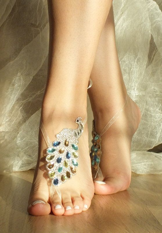 Rhinestone anklet,  rhinestone bangle, peacock rhinestone bangle, gold silver blue blush, barefoot sandals, beach wedding sandals,: