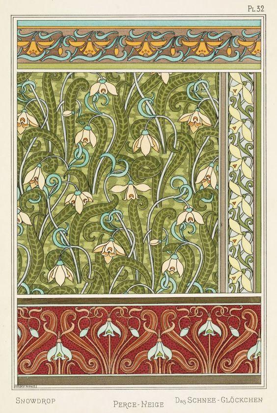 Maurice Pillard Verneuil Art Nouveau Illustration: Snowdrop - Perce Neige - Schneeglöckchen