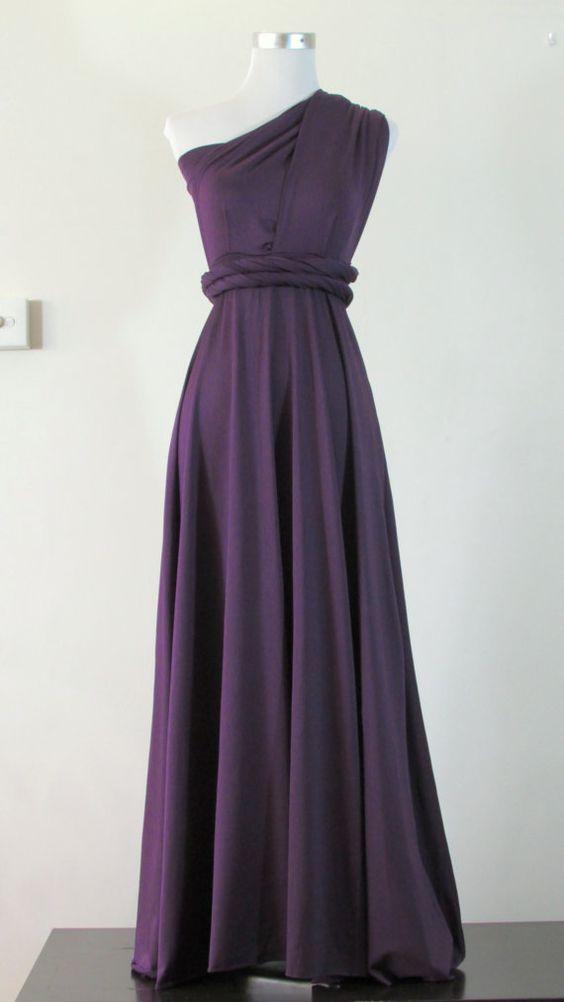FULL LENGTH Bridemaids dress Convertible Dress in Purple Grape ...