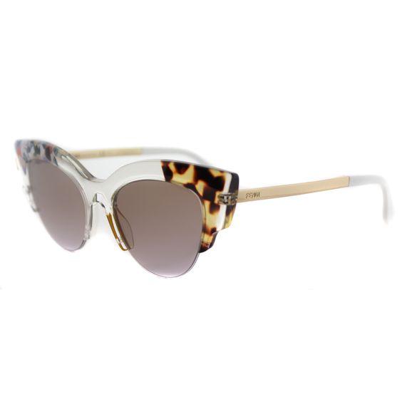Fendi FF 0179 TKT Jungle Crystal Gold Square Sunglasses Brown Gradient Lens