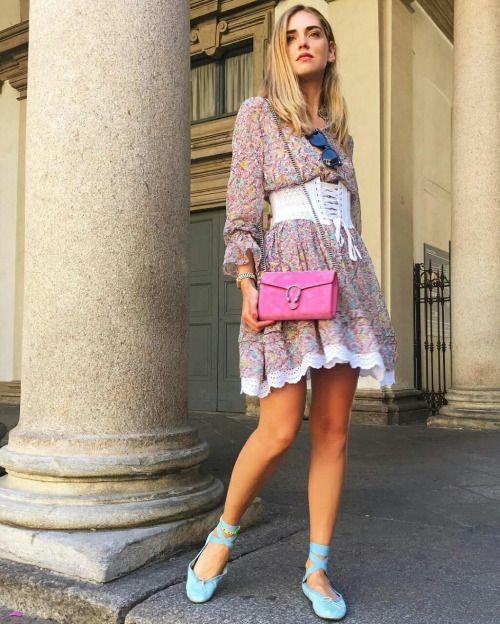 Trending fashion style: Chiara Ferragni in a corset belt 'waist cincher' Street Style.