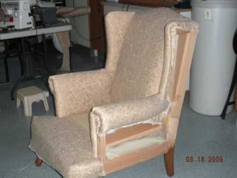 My first time to do a re-upholster project. It was fun doing it. I bought the chair from Goodwill for $10.00 and got the fabric from a discount store at $1.00 per yard. Pictures showed step by step process. I was learning as I go along. Used regular staple gun. Spent under $30.00