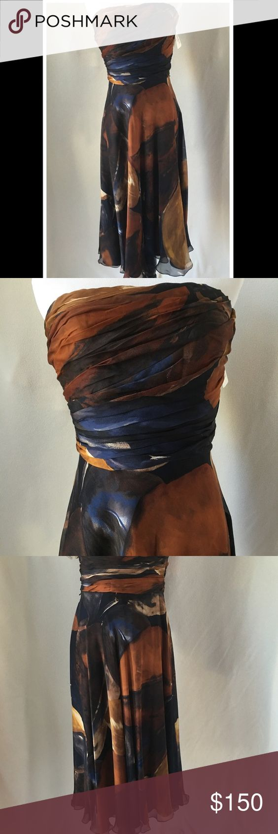 NWT Neiman Marcus Dress Brand new with tags from Neiman Marcus. It's a beautiful strapless dress with lovely fall colors. Neiman Marcus Dresses Strapless