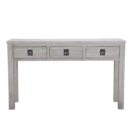 Cancun 3 drawer console table white wash freedom for Sofa table with drawers and doors