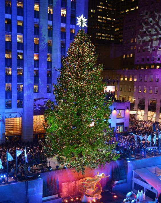 Spruce up: The Rockefeller Center Christmas tree is lit (Photo: Stan Honda / AFP - Getty Images)