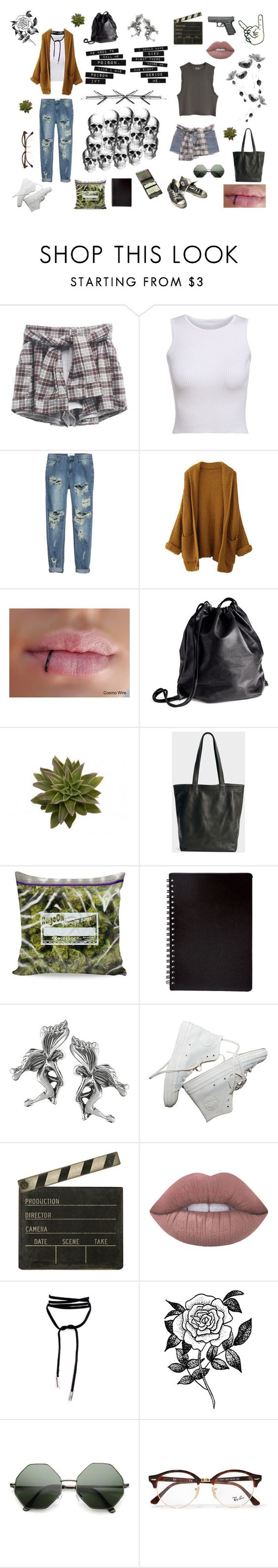 """""""grunge friends"""" by karatigelman ❤ liked on Polyvore featuring Levi's, One Teaspoon, Converse, H&M, Tressa, Spicher and Company, Lime Crime, Forever 21 and Ray-Ban"""