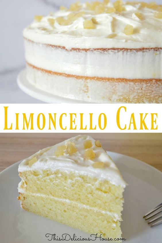 Limoncello Ricotta Cake with Limoncello Cream Cheese Frosting