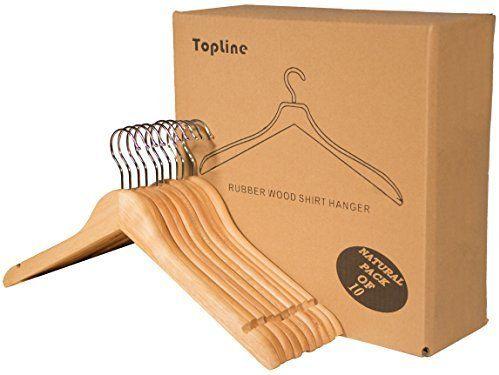 Amazon Com Topline Classic Wood Shirt Hangers Natural Finish