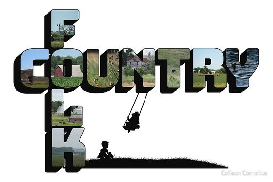 """Country Folk Big Letter Graphic Art"" by Colleen Cornelius 