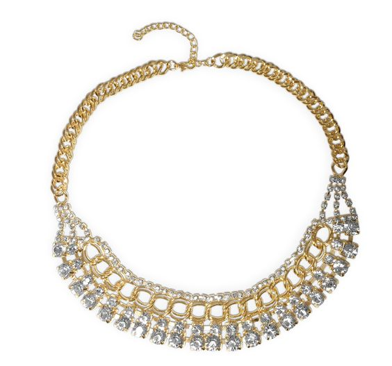 Gold Chain Link Statement Necklace with CZ