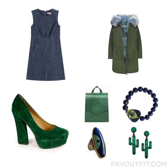 Wardrobe Wish List Featuring Diane Von Furstenberg Dress Fox Coat Pumps And Green Bag From March 2016 #outfit #look