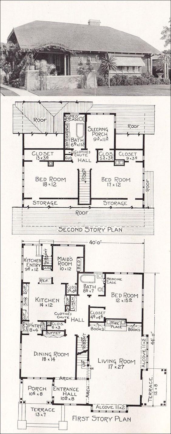 C1918 stillwell representative california homes r 828 for Maids quarters house plans