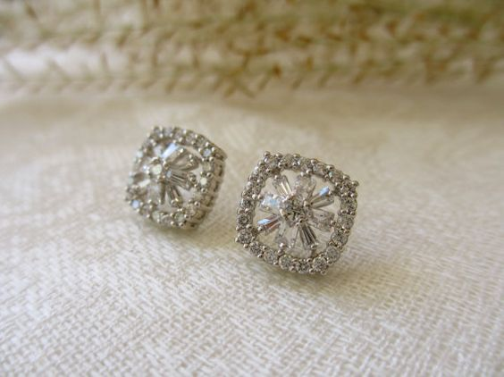 Square Baguette CZ Sterling Post Earrings by UniqueJewelry