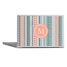 Laptop Skins Peach Blue And White Tribal Pattern for