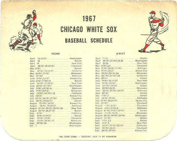 SOLD - 1967 Chicago White Sox Schedule - odd