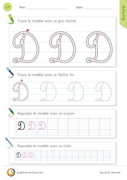 Pdf feuille d ecriture pour apprendre crire la lettre d majuscule en cursive pinterest - Apprendre a broder des lettres ...