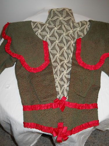 Victorian brown and red bodice jacket (front)