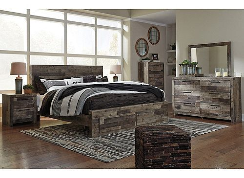 When You Want A Bedroom That Makes A Bold Statement Ainsworth Is For You Rustic Butcher Block Finish Is Tast Bedroom Sets Queen Bedroom Set Wood Bedroom Sets