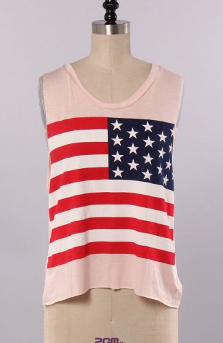 $22.80 AMERICAN FLAG TANK TOP 95%RAYON 5%SPANDEX MADE IN U.S.A