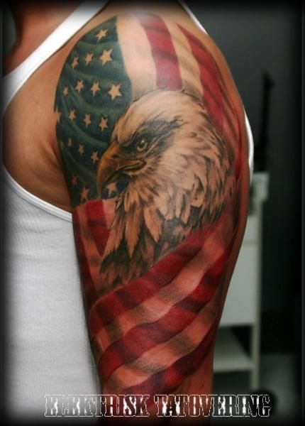 eagles with white shoulders | American Flag Tattoos Shoulder Shoulder flag usa eagle tattoo