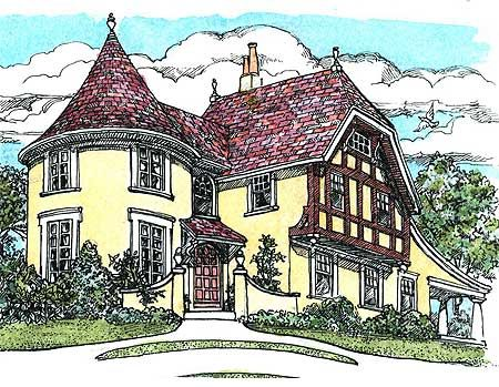 Plan 11605gc turreted tudor cottage house plans house for House plans with turrets