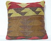 "16""Handwoven Pillow Decorative Pillow Throw Pillow Kilim Pillow Tribal Pillow Ethnic Pillow Wool Bohemian Pillow Turkish Floor Cushion Cover"