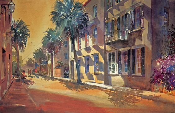 Have this, framed, above the bed in our master bedroom  Google Image Result for http://www.charlestonsouthcarolinaart.com/cityscapes1/queen_st.jpg