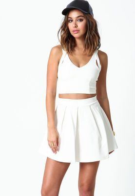 Ivory Strappy Plush Knit Crop Top,