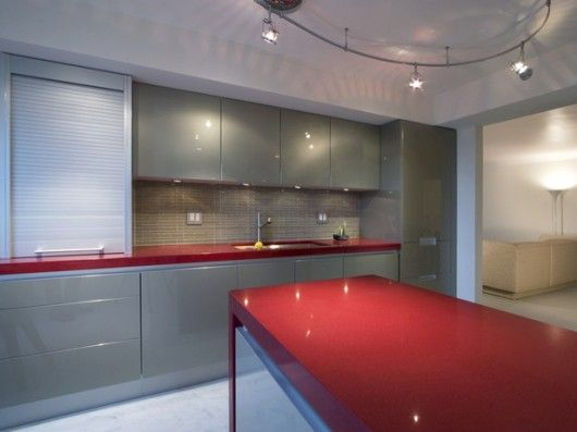 red countertop | ... red countertops balance the subdued champagne color on  the cabinetry | kitchen | Pinterest | Champagne colour, Countertops and ...